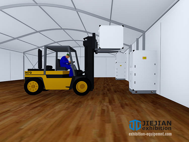 install tent ac unit with forklift (2)