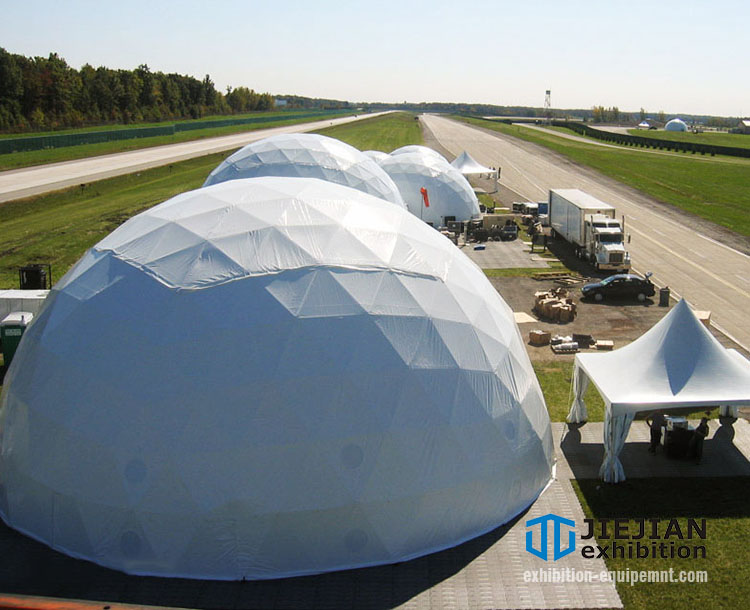 white geodesic dome tent